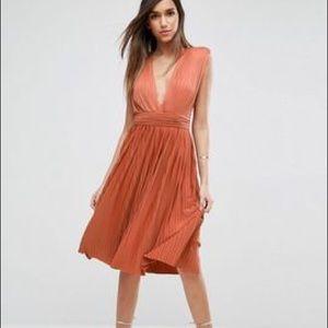 ASOS Deep Plunch Pleated Midi Dress in Peach